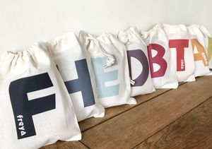 Personalised Initial Party Bags By Pear Derbyshire
