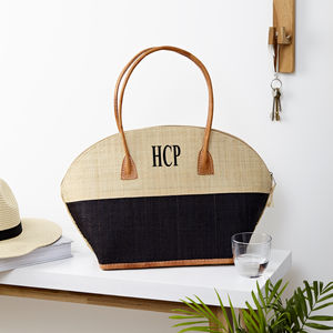 Personalised Monnogrammed Raffia Handbag - shoulder bags