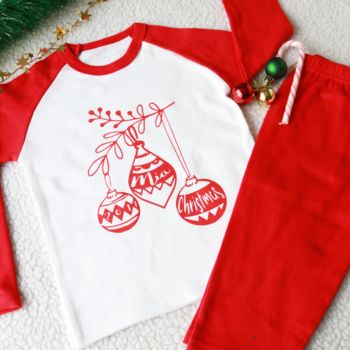 Personalised Bauble Kid's Christmas Pyjamas