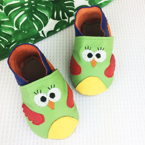 Personalised Leather Parrot Baby Shoes