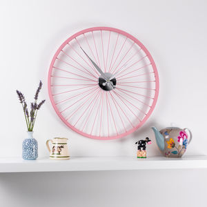 Pastel Pink Bike Wheel Clock 57cm - children's clocks