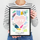 Abstract Colour Block 'Love' Print