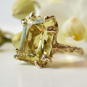 Gold Ring Set With Citrine And White Diamonds - precious gemstones