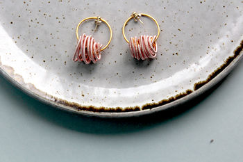 Pink Coiled Wire Neptune Earrings