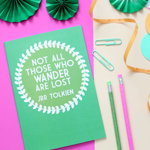 Wander Are Lost Green Notebook - frequent traveller