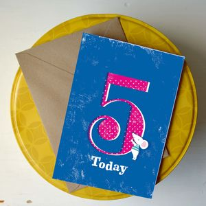 5th Birthday Card 'Five Today'