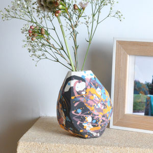 Handmade Colour Splatter Porcelain Bud Vase - living room