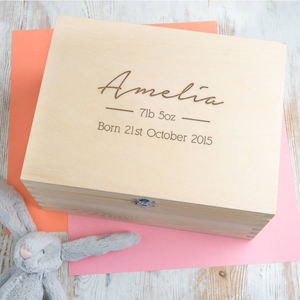 New Baby Girl Birth Weight And Date Keepsake Box - summer sale