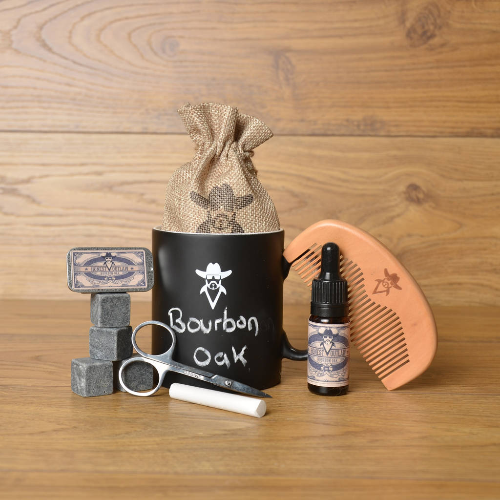 chalkboard mug beard grooming kit with whiskey stones by honest outlaw. Black Bedroom Furniture Sets. Home Design Ideas