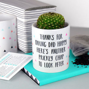 Stepmum Thanks For Making Dad Happy Cactus Plant Pot - pots & planters