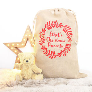 Children's Traditional Wreath Christmas Sack - christmas decorations