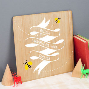 Personalised New Baby Print On Wood