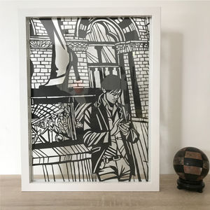 'Waiting For Date' Original Handcrafted Papercut - modern & abstract