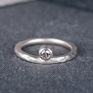 9ct White Gold Offset Engagement Ring With Diamond