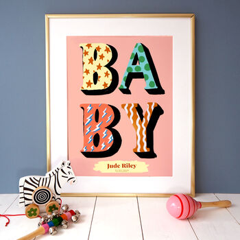 Baby Typography Personalised Print