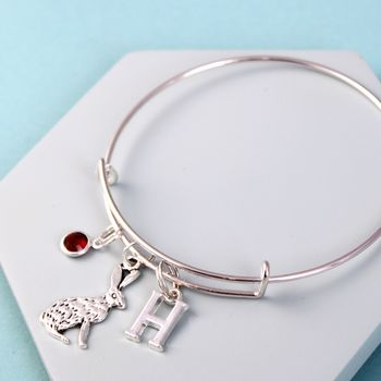 Personalised Hare Silver Initial Birthstone Bangle