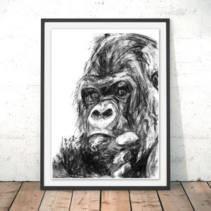 Gorilla Charcoal Fine Art Giclée Print - animals & wildlife