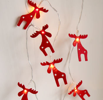 Red Reindeer Twinkling Light Garland