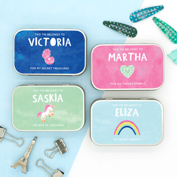 Personalised Pastel Themed Keepsake Gift Tins