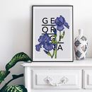Personalised Iris Botanical Flower Print