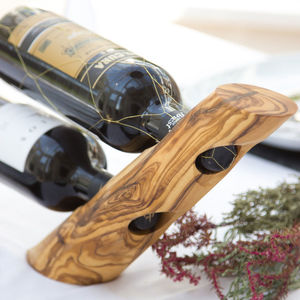 Natural Olive Wood Wine Holder - wine racks & storage