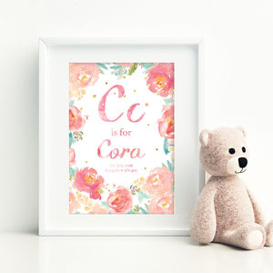 Floral Personalised Baby Name Nursery Watercolour Print - whatsnew