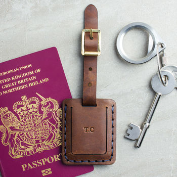 Personalised Hand Stitched Leather Luggage Tag