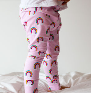 Girls Pink Rainbow Leggings - clothing