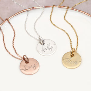 Personalised 18ct Gold Or Silver Disc Name Necklace