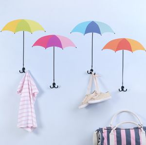 Umbrella Shape Wall Sticker And Coat Hooks - home accessories