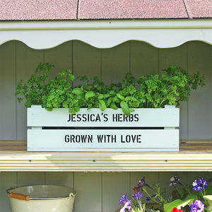 Personalised Window Box Crate With Herb Seeds - gardening