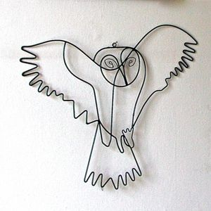 Flying Owl Wire Wall Art - sculptures