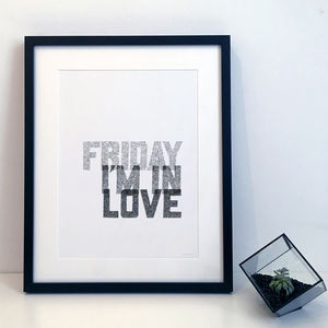 'Friday I'm In Love' The Cure Lyrics Typography Print