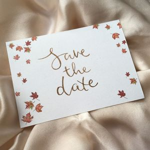 Autumn Leaves Modern Calligraphy Save The Dates - invitations