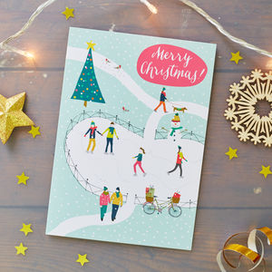Ice Skaters Christmas Card Pack - christmas cards: packs