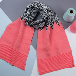 Salmon And Black Reversible Graphic Scarf