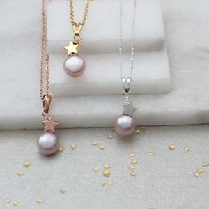 Single Pink Pearl Pendants With Star - flower girl jewellery