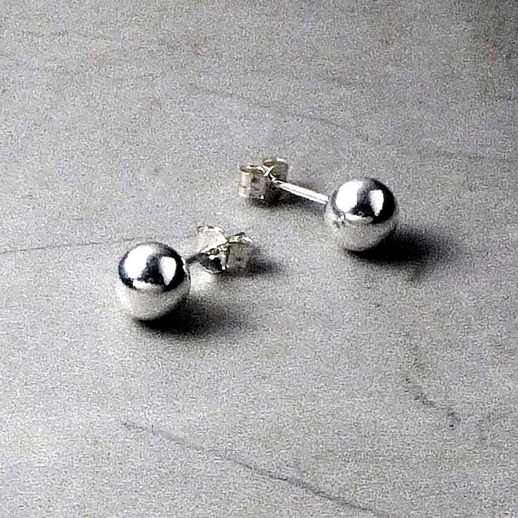 Sterling Silver Ball Stud Earrings By Hersey Silversmiths