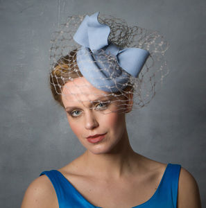 Baby Blue Pillbox Hat With Bow