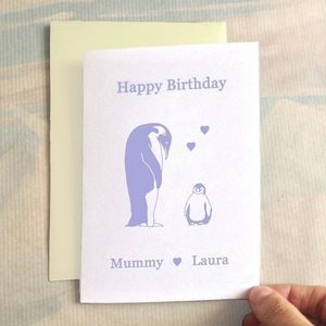 Personalised Birthday Penguins Birthday Card - birthday cards