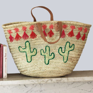 Cactus Embroidered Basket - women's accessories