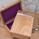 Natural Wood Personalised Cufflink Box with Purple Lining