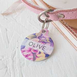 Floral Pet ID Tag - dogs