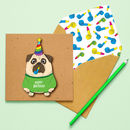 Handmade Birthday Jumper Pug Personalised Card