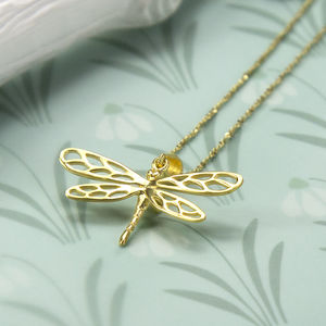 Gold Plated Sterling Silver Dragonfly Necklace