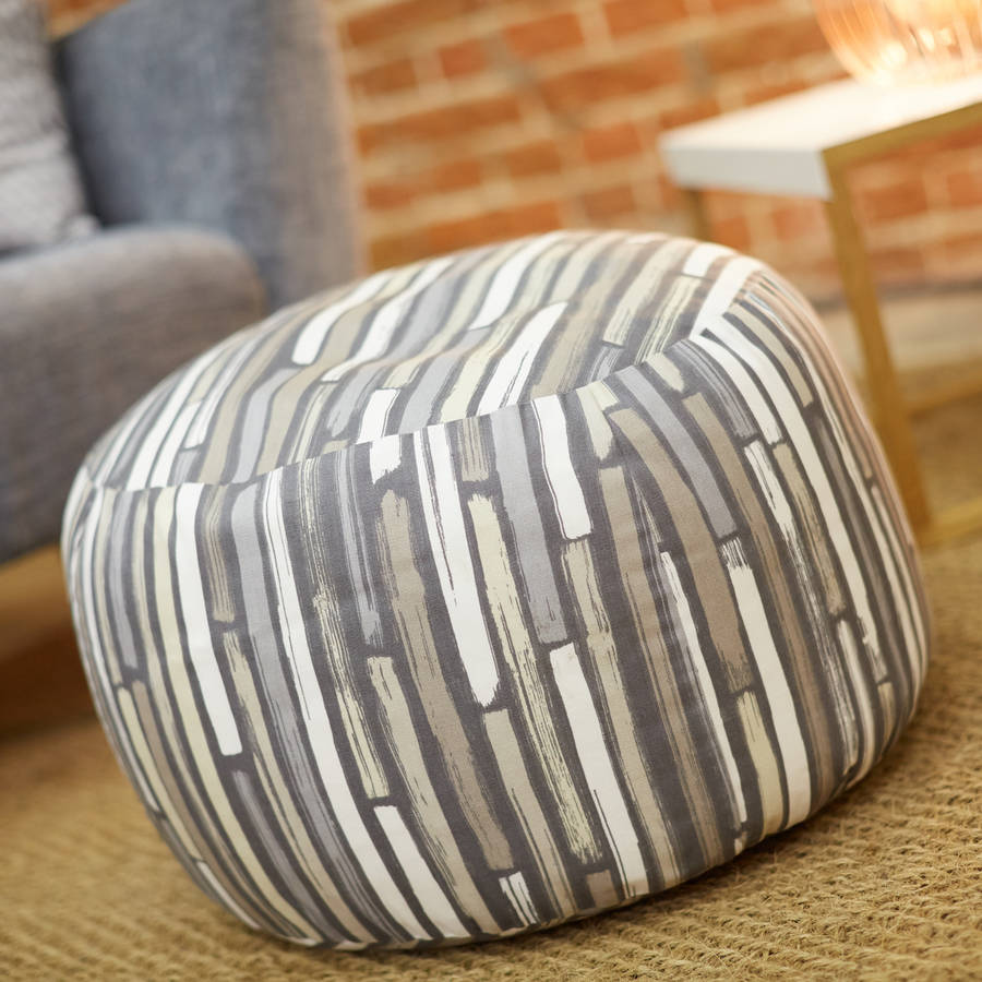 Hand Made Striped Pouffe By Uniquely Eclectic