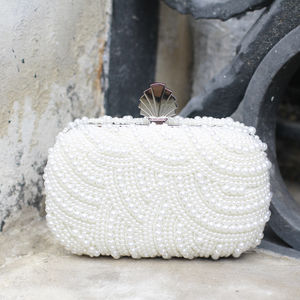Eva Art Deco Pearl Clutch Bag - clutch bags