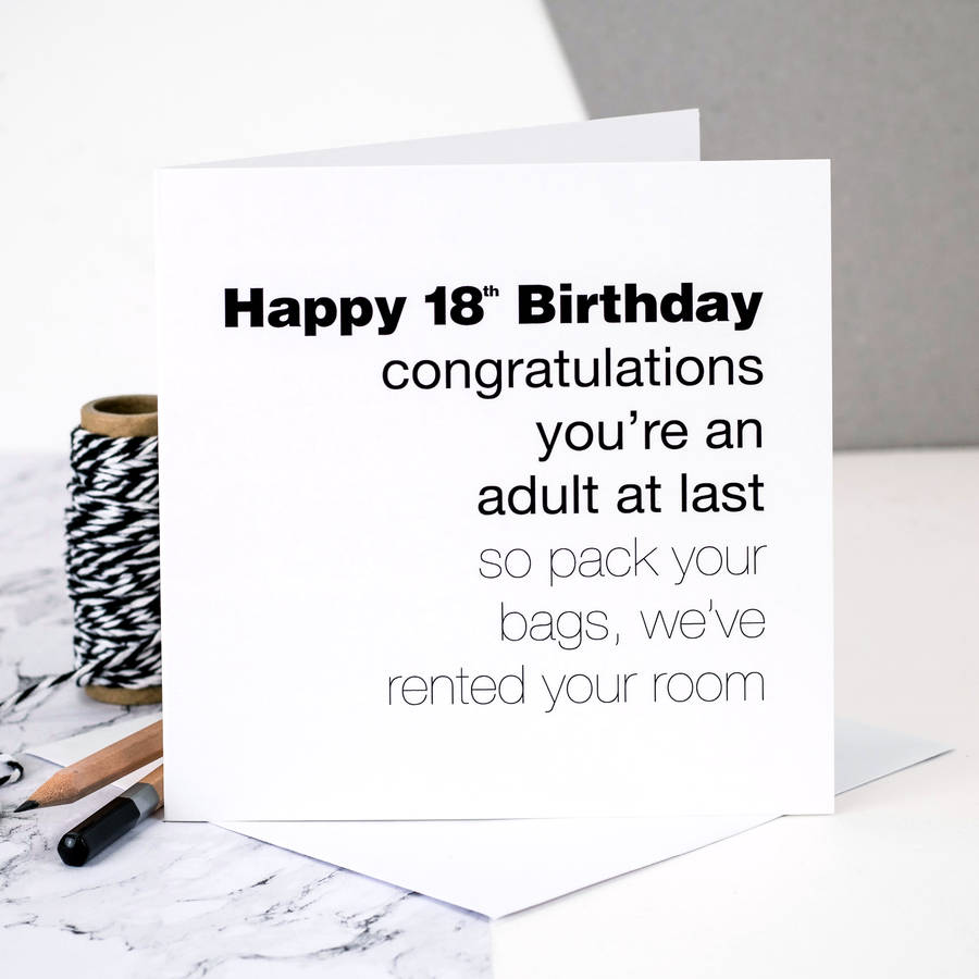 18th Birthday Card 'You're An Adult At Last'