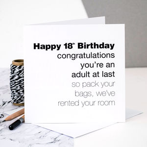 18th Birthday Card 'You're An Adult At Last' - birthday cards