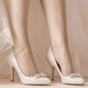 Sienna Metallic Silver Suede Wedding Shoes - bridal shoes